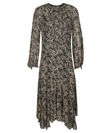 Flower Patterns Long Sleeves Long Shirt Dresses