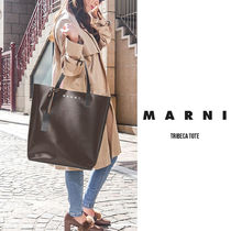 MARNI Casual Style Unisex Calfskin A4 Plain Leather Party Style