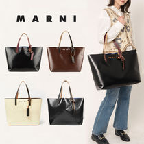 MARNI Casual Style Unisex A4 Plain Leather Party Style