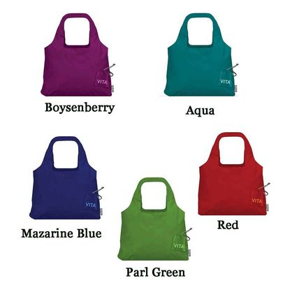 Nylon Plain Logo Shoppers