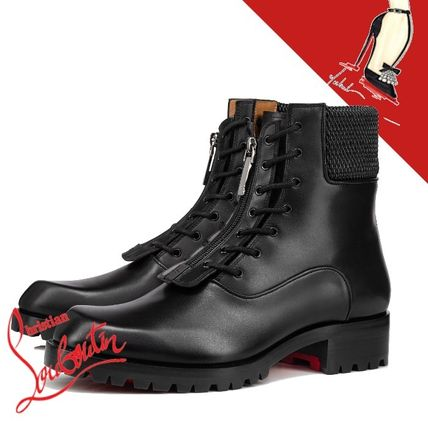 Christian Louboutin Wing Tip Plain Leather Logo Engineer Boots