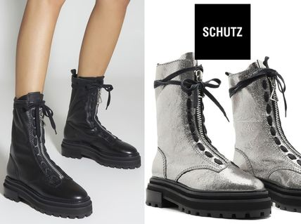 SCHUTZ Platform Round Toe Rubber Sole Lace-up Casual Style