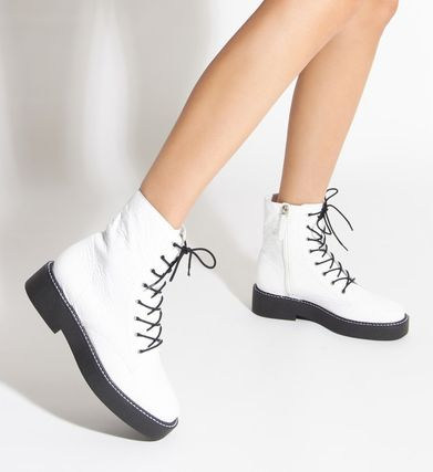 Platform Round Toe Rubber Sole Lace-up Casual Style Enamel