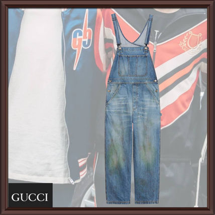 GUCCI More Jeans Denim Blended Fabrics Street Style Plain Cotton Overalls