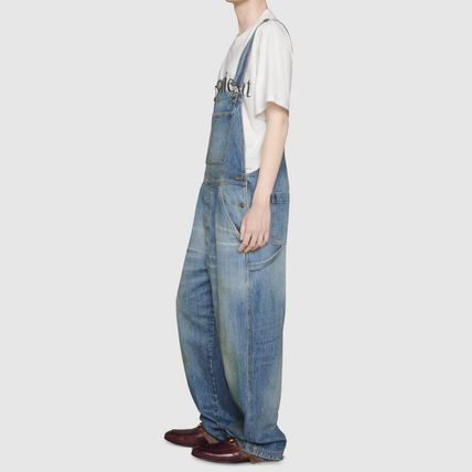 GUCCI More Jeans Denim Blended Fabrics Street Style Plain Cotton Overalls 2