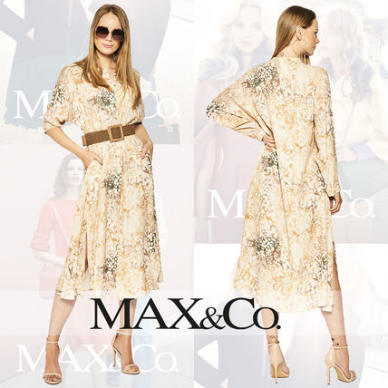 Max&Co. Dresses Crew Neck Dots Casual Style A-line Flared Tie-dye