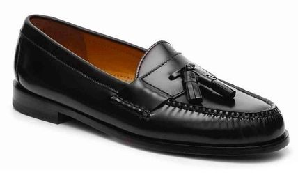 Loafers Tassel Street Style Plain Leather U Tips Logo