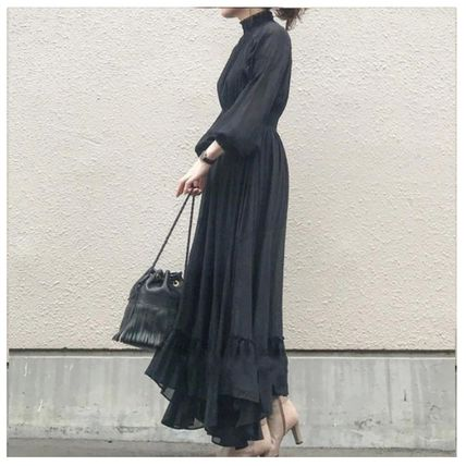Casual Style Maxi A-line Flared Long Sleeves Plain Long