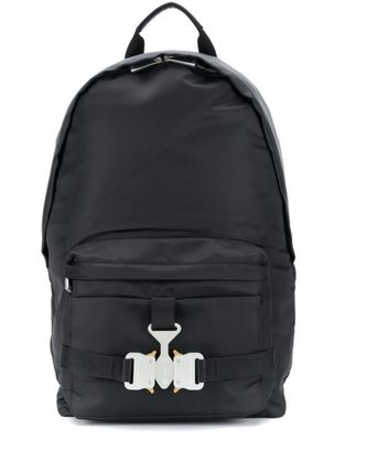 Nylon Plain Leather Logo Backpacks