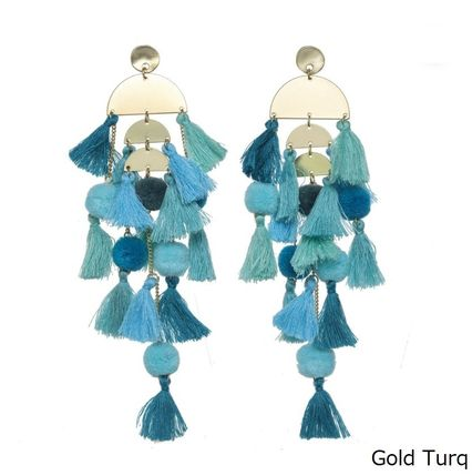 STELLA & RUBY Casual Style Party Style Fringes Earrings