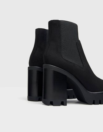 Casual Style Blended Fabrics Plain Block Heels Chelsea Boots