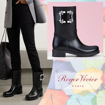 Roger Vivier Rubber Sole Blended Fabrics Plain PVC Clothing With Jewels