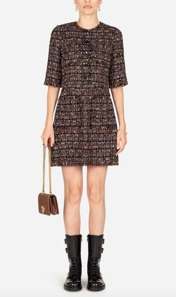 Dolce & Gabbana Short Tweed Short Sleeves Dresses