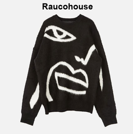 Raucohouse Sweaters Long Sleeves Oversized Logo Sweaters