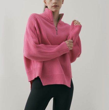 Casual Style Wool Long Sleeves V-neck & Crew neck