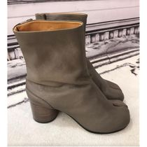 Maison Margiela Tabi Casual Style Plain Leather Block Heels Party Style