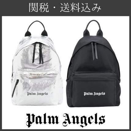 Palm Angels Logo Unisex Blended Fabrics Plain Street Style Backpacks