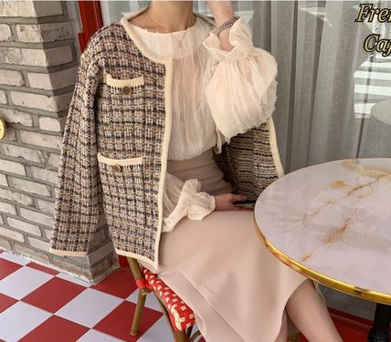 Short Casual Style Tweed Medium Party Style Office Style