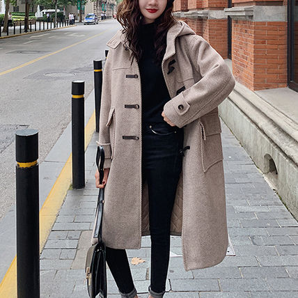Casual Style Medium Front Button Duffle Coats