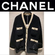 CHANEL ICON Logo Front Button Cable Knit Stripes Casual Style