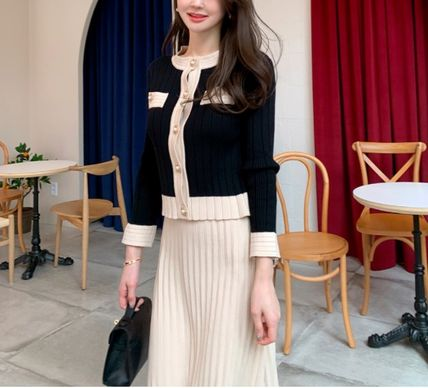 Casual Style A-line Flared Long Sleeves Plain Long