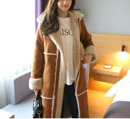Casual Style Faux Fur Street Style Plain Long Party Style