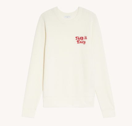 Crew Neck Pullovers Wool Long Sleeves Plain Logo Sweaters