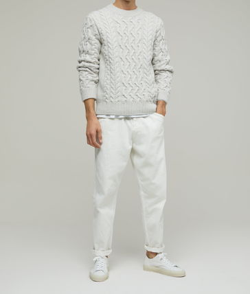 Crew Neck Cable Knit Pullovers Wool Long Sleeves Plain