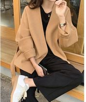 Stand Collar Coats Short Casual Style Unisex Wool