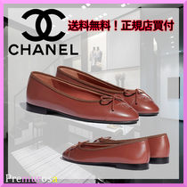 CHANEL Unisex Blended Fabrics Plain Leather Logo Ballet Shoes
