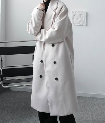 Plain Long Oversized Front Button Trench Coats