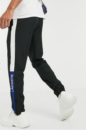 LACOSTE Tapered Pants Unisex Street Style Plain Logo Tapered Pants