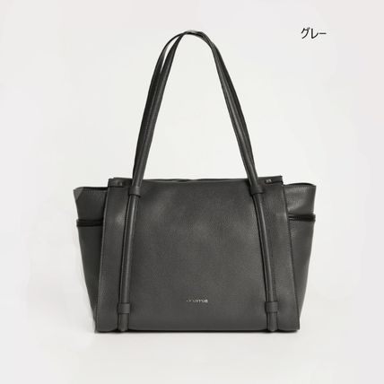 Casual Style Calfskin A4 Plain Leather Office Style Logo