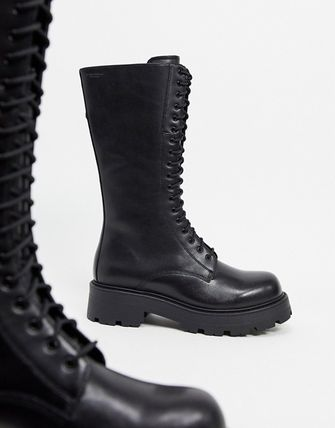 Round Toe Lace-up Casual Style Leather Lace-up Boots