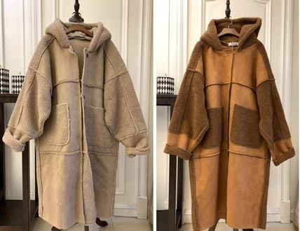 Shearling Casual Style Suede Plain Long Street Style