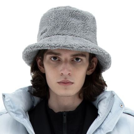 Street Style Bucket Hats Shearling Wide-brimmed Hats