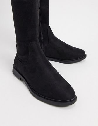 ASOS Asos Design Petite Kennedy Flat Over The Knee Boots In Black