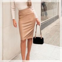 Lipsy Pencil Skirts Short Casual Style Faux Fur Street Style Plain