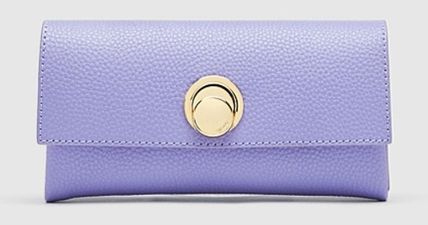 Tassel Studded Plain Leather Folding Wallet Logo Icy Color