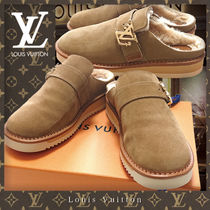 Louis Vuitton Suede Blended Fabrics Plain Leather Logo Loafers & Slip-ons