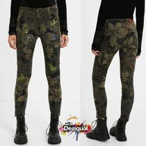 Desigual Printed Pants Flower Patterns Camouflage Casual Style
