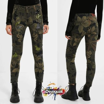 Printed Pants Flower Patterns Camouflage Casual Style Long