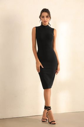 Tight Sleeveless Plain Medium Party Style Elegant Style