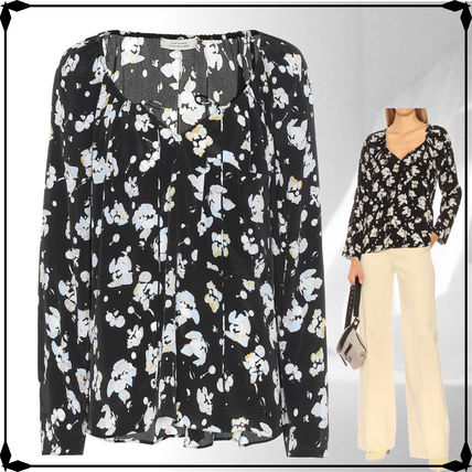 Flower Patterns Casual Style Silk Long Sleeves Medium