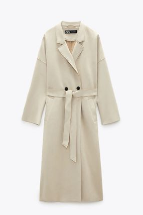 ZARA Suede Blended Fabrics Street Style Plain Long Trench Coats