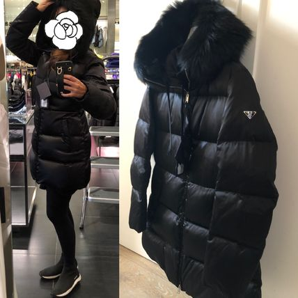 PRADA Fur Plain Medium Down Jackets