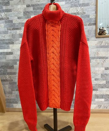 DIESEL Cable Knit Pullovers Wool Street Style Long Sleeves Plain