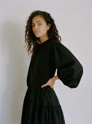 Casual Style Cropped Plain Cotton Elegant Style Puff Sleeves