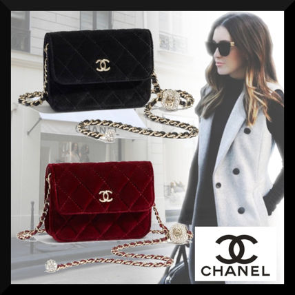 CHANEL Casual Style Chain Plain Party Style Elegant Style Logo