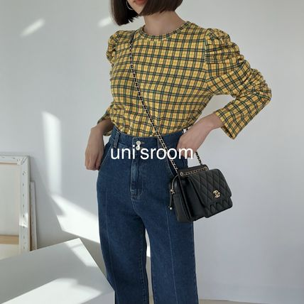 Crew Neck Short Gingham Tartan Other Plaid Patterns U-Neck